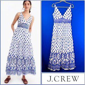 NWT🤩|•J. CREW•| V-neck Maxi Dress in Block Print